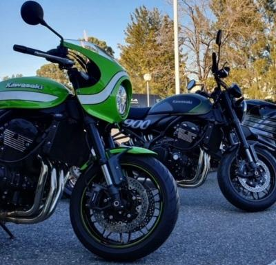 used Kawasakis in front of SA Motorcycles showroom